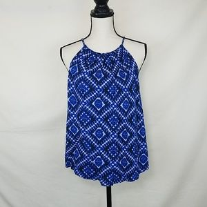 LUCKY BRAND Blue Halter Top, Size L